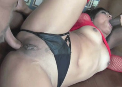 Asian slut Max is fucking two guys
