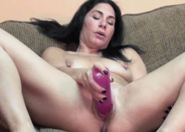 Petite wife Cleo plays with a big toy