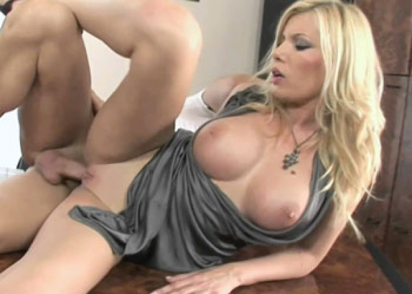 Busty blonde Donna screws the janitor