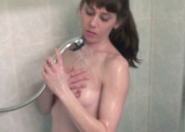 Samantha relaxes in the shower